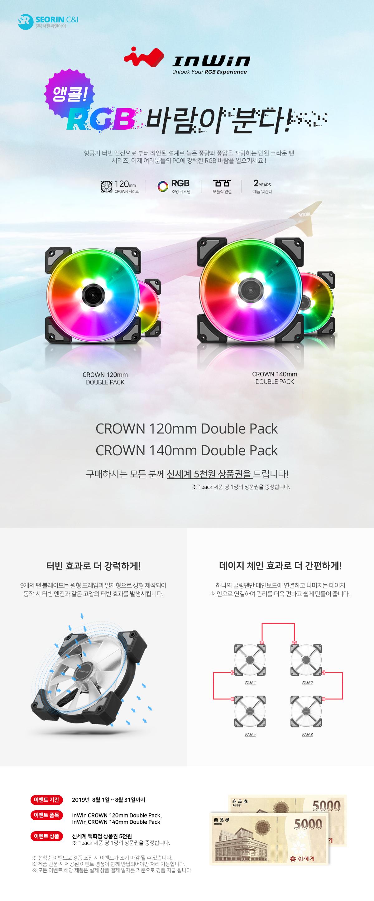 인윈 크라운 팬 구매자 대상 신세계 상품권 증정 이벤트 !!